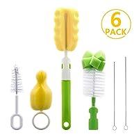 6 en 1 kit limpiador de cepillos para biberones, juego de cepillos de limpieza para tazas biberones deportivos biberones de tetina y más (verde)