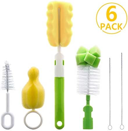 6 in 1 Bottle Brush Cleaner Kit, Cleaning Brush Set for Cups Sports Bottle Baby Bottle Nipple Straws and more (Green)