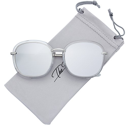 The Fresh Fashion Metal Temples Iridescent Mirror Flat Lens Square Sunglasses with Gift Box (2-Crystal-Silver, Silver -