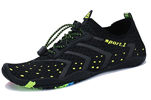 WXDZ Athletic Aqua Sock Water Shoes for Water Sport Beach Pool Boat Surfing Diving 1-black, 12 US Women/11 US Men,...