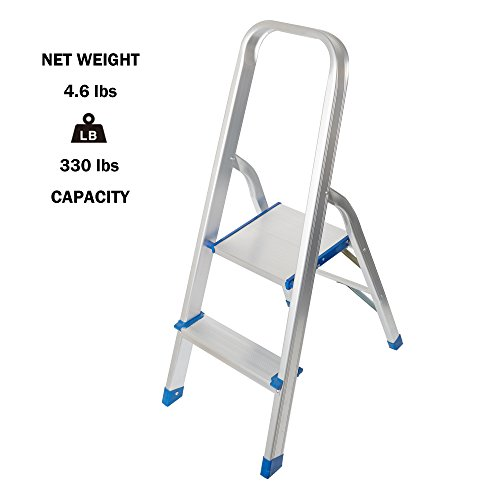 Lucky Tree Portable 2 Step Ladder Anti-slip Folding Stepladders Lightweight Aluminum Step Stool for home kitchen, 330lbs Capacity by Lucky Tree