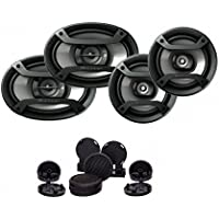 Pioneer TS-165P + TS-695P Two Pairs 200W 6.5 + 230W 6x9 Car Audio 4 Ohm Component Speakers With Absolute TW-800 800WATTS MAX High Efficiency Dome Tweeter with Built-in crossover (PAIR)