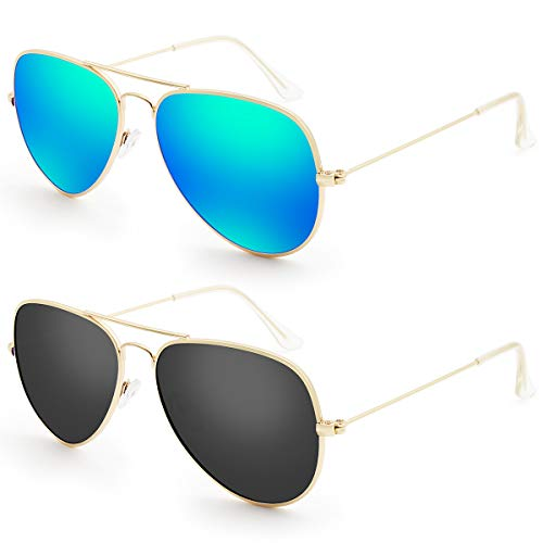 Livhò Sunglasses for Men Women Aviator Polarized Metal Mirror UV 400 Lens Protection (Gold Grey+Blue ()