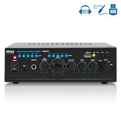 Lightweight Stereo Power Amplifier - Pyle 2X120 Watt Home Audio Power Amplifier - Portable 2 Channel Surround Sound Stereo Receiver w/ USB in - for Amplified Subwoofer Speaker, CD DVD, MP3, iPhone, Phone, Theater, PA System - PTAU45