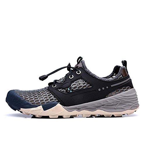 Onfly Bomba Hueco Malla Hilado de red Zapatos deportivos Zapatos casuales Hombres Respirable Color puro Cordon de zapato Antideslizante Snekers Zapatos para correr Al aire libre Zapatos de escalada Ta Grey