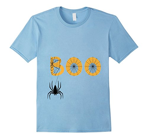 Homemade Infant Spider Costumes (Mens Boo Halloween T-Shirt With Spiders And Spooky Spider Webs Medium Baby Blue)