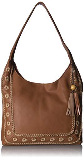 Crochet Hobo Handbag - The Sak The Huntley Hobo, Tobacco Floral Crochet
