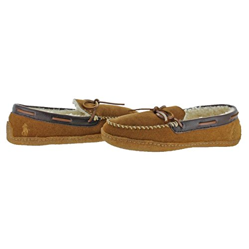 Shearling Men's Polo Crepe Suede Mason Sole Lauren Slippers Lined Ralph Tan Moccasin XX7CqB