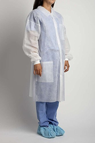 MediChoice Laboratory Coats, Standard, Disposable, Three-Pocket, 5 Snap-Front, Non Woven, Sturdy Polypropylene, XL, White (Case of 25) by MediChoice (Image #1)