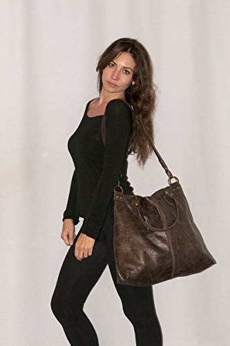 Pelle 100 in da Stile Made Vintage Italy Vera Borsa in LISA Jeans BORDERLINE Donna Blu dXz0nxd