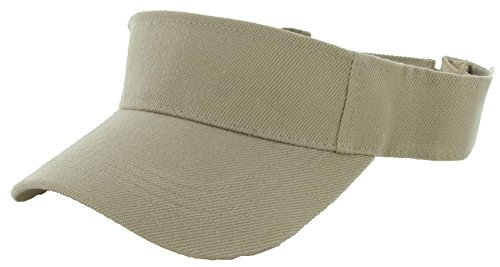 DealStock Plain Men Women Sport Sun Visor One Size Adjustable Cap (29+ Colors) (Khaki)