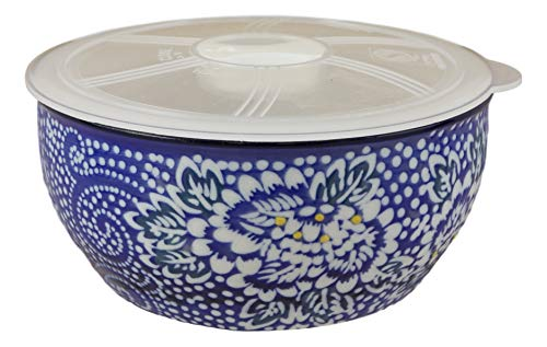 (Ebros Gift Ming Style Dinnerware White Blue Floral Pattern 6