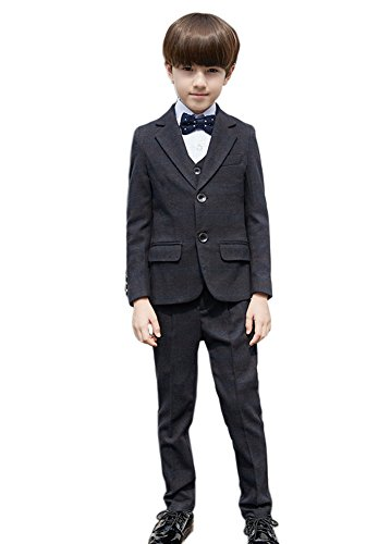 SK Studio Boys' 5-Piece Wedding Dress Pants Shirt Vest Tie Suits Light Black by SK Studio