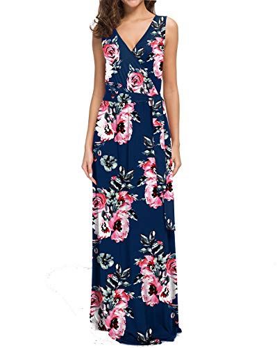 POKWAI Women Bohemian Printed Wrap Sleeveless Crossover Maxi Dress Casual Long Dress Beach Dress (Navy Blue,L)