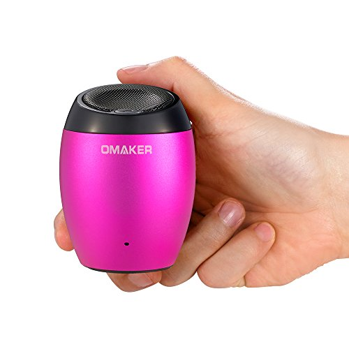 Omaker M1 Ultra Portable Metallic Mini Wireless Bluetooth Speaker with 3.5 Mm Aux Port Loud and Enhanced Bass Boost,hands Free with Built in Mic Speaker System and Rechargeable Big Capacity Polymer Lithium Battery-compatible with All Bluetooth Enabled Media Players (Hot pink)
