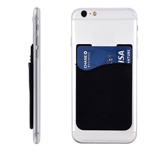 Stixs® Smart Wallet, Silicone Wallet with 3m Adhesive Sticks to the Back of All Smart Phones, iPhone, Galaxy S & Android, iPod Touch, Great for Credit Cards and Metro Card, Always Have Your Card Handy Near You and Never Loose It Again!! (BLACK)