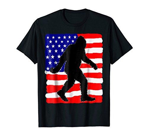 Bigfoot T Shirt 4th July American Flag USA Mens Women (State College Parade Halloween)