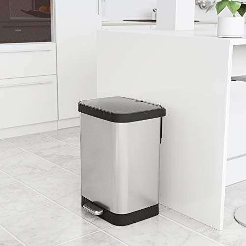 GLAD GLD-74506 Stainless Steel Step Trash Can with Clorox Odor Protection of The Lid   Fits Kitchen Pro 13 Gallon Waste Bags by Glad (Image #6)