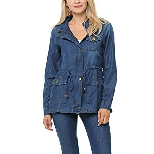 Auliné Collection Womens Chambray Denim Military Lightweight Anorak Shirt Jacket