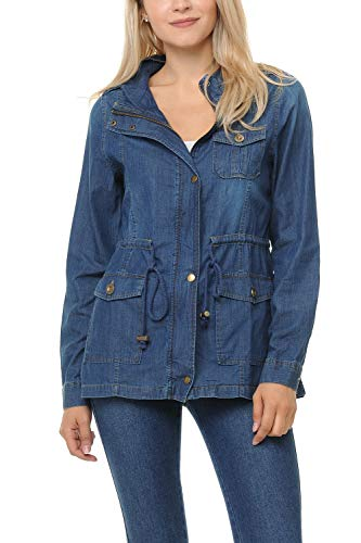 Auliné Collection Womens Chambray Denim Military Lightweight Anorak Shirt Jacket - Dark Blue Large