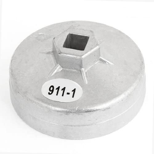 Water /& Wood 80mm Inner Dia Oil Filter Cap Cup Wrench 15 Flutes Silver Tone for Car with Car Cleaning Cloth