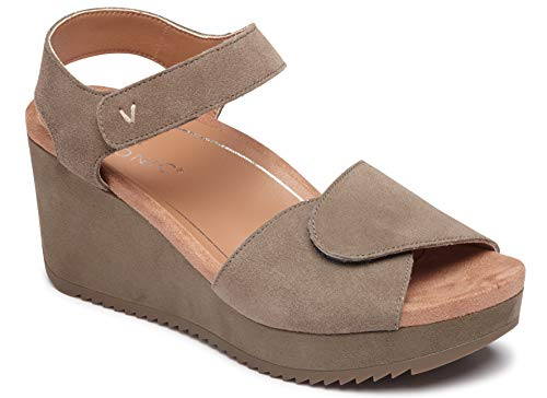 - Vionic Women's Hoola Astrid II Wedges - Adjustable Sandals with Concealed Orthotic Arch Support Dark Taupe 8 W US