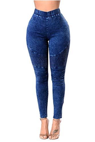 Las Azul Mujeres Bolsillo Jeans Largos con yulinge Skinny Denim Pantalones Alta Cintura dAqnP5aw