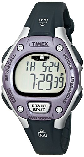 Timex Women's Ironman 30-Lap Digital Quartz Mid-Size Watch, Black/Lilac - T5K410
