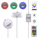 6-Pack 3W DC 12V Bluetooth APP Control RGB LED Deck Light Acrylic Deco Cover Sideview Ambient Wall Backlight Kit incl Power Supply & 2-in-1 Remote Controller ( Multiple Colors )