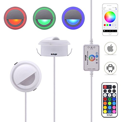 6-Pack 3W DC 12V Bluetooth APP Control RGB LED Deck Light Acrylic Deco Cover Sideview Ambient Wall Backlight Kit incl Power Supply & 2-in-1 Remote Controller ( Multiple Colors ) by Brillight