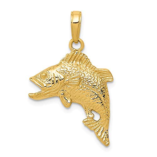 Solid 14k Yellow Gold Jumping Bass Fish Pendant (17mm x 25mm)
