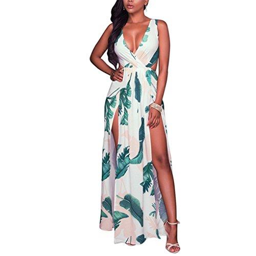Providethebest Bohe mujeres V profundo atractivo del cuello sin respaldo de la impresión floral de Long Beach Girl partido se dividió el vestido maxi Nignt club Vestido de tirantesverde claro XL seda