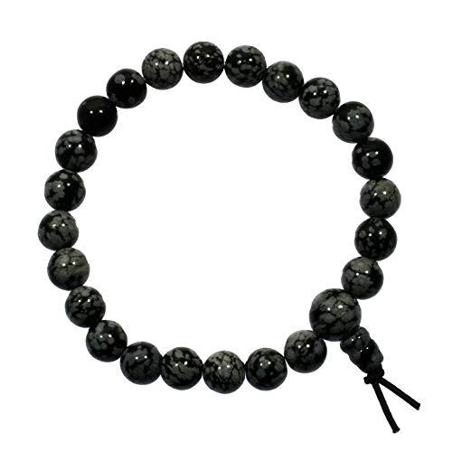 CrystalAge Snowflake Obsidian Power Bead Bracelet