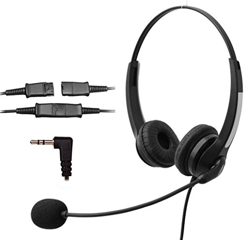 Voistek Corded Binaural Call Center Telephone Headset Noise Cancelling Headphone with Mic and Quick Disconnect for Cisco Linksys Polycom Panasonic Office Deskphone DECT Cordless and Cell Phones with 2.5mm Headset Jack (S20NP25MM) ()