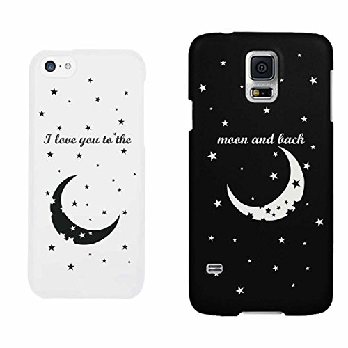 I LOVE YOU TO THE MOON AND BACK Couple Matching Phone Cases (iPhone 5C, Galaxy S5)