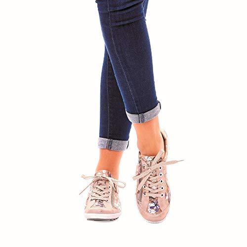 R1402 Cuero nude metallic sneaker Mínimo scarpa scarpe Stringata traspirante plantilla Rosegold 32 De Mujer Remonte Suelta HvOwdH