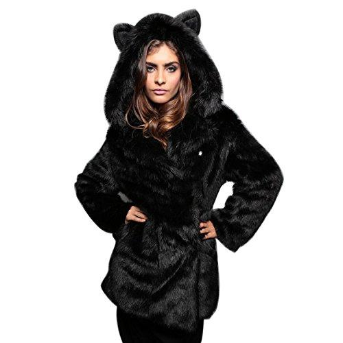 LAEMILIA Femme Manteau Hiver Fausse Fourrure  Capuche Epais Elgant Manches Longues Chaud Parka Duffel Coat Veste Trench Noir