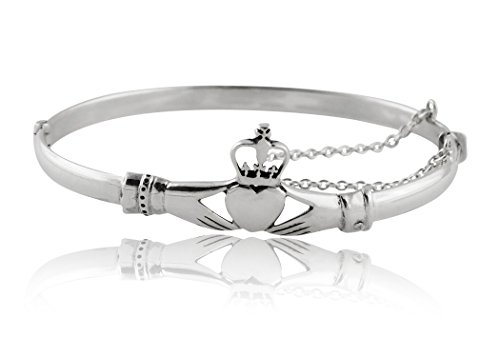 Sterling Silver Irish Claddagh Bangle Bracelet with Chain (Bracelets Claddagh Silver)