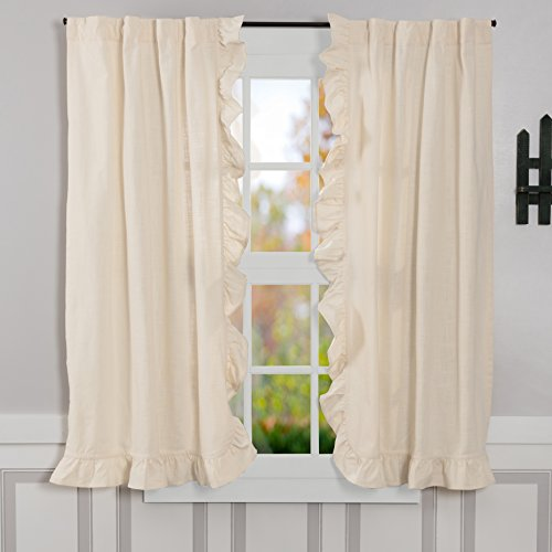 "Piper Classics Ashley Natural Ruffled Panel Curtains, Set of 2, 63"" Long, Vintage Farmhouse Style Beige/Cream Drapes"