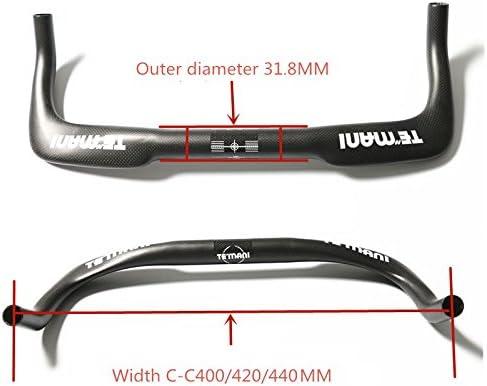 Fixed Gear Road Bike Bicycle Carbon Fiber Bullhorn Bar Handlebar 31.8mm 400//420//440mm Black