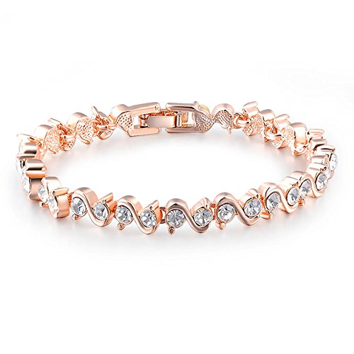 GEORGE SMITH Security Slender Rose Gold Plated Sparkling Crystal Cubic Zirconia Stones S Shaped Chain Link Bracelet Blending Jewelry for Women Ladies