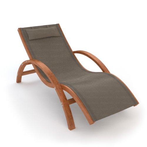 Ampel 24 Relax Liegestuhl Tropica | 100% wetterfeste Gartenliege | vorbehandeltes Holz | mit Armlehnen | Bezug dunkelgrau