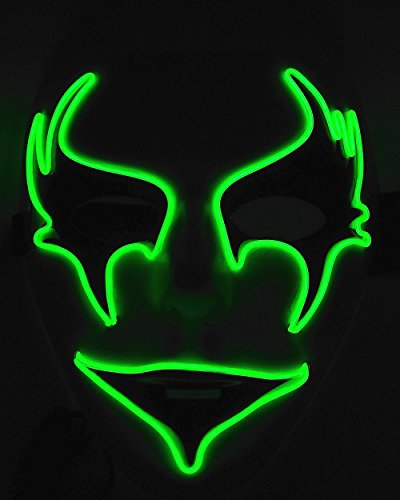 Cage-YYL Frightening Wire Halloween Cosplay LED Light up Mask for Festival Parties (Clown 1, Green)