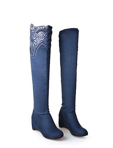 XZZ  Damenschuhe - Stiefel Stiefel Stiefel - Kleid   Lässig - Spitze   Vlies - Keilabsatz - Wedges   Rundeschuh   Modische Stiefel - Schwarz   Blau   Rot B01L1GSHGK Sport- & Outdoorschuhe Stimmt b0ac2e
