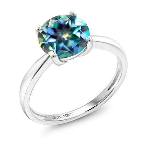 Gem Stone King 10K White Gold Millennium Blue Mystic Topaz Solitaire Ring 2.00 Ct Round 8MM Available in size 5, 6, 7, 8, 9 ()