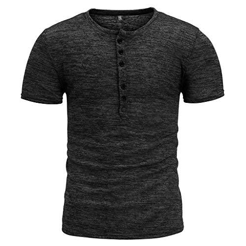 Winsummer Mens Casual Slim Fit Basic Henley Short Sleeve T-Shirt Lightweight V Neck Muscle Tops Black by Winsummer (Image #1)