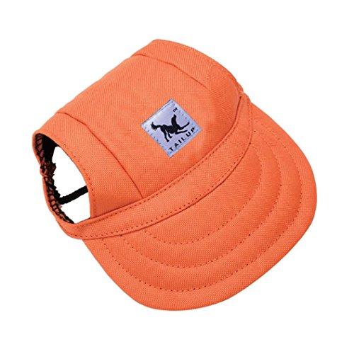 Pet Hat, OOEOO Visor Cap with Ear Hole Summer Dog Cat Baseball Cap Puppy Hat Sunbonnet (Orange) -