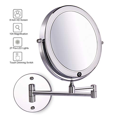 8 Inch Wall Mounted Makeup Mirror Adjustable LED Light Touch Screen 1X 10X Magnifying Two Sided 360 Swivel Extendable Vanity Mirror for Bathroom Chrome Finished Powered by Batteries