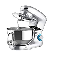 Heska -1500W Food Stand Mixer - 4-in-1 Beater/Whisk / Dough Hook/Flex Edge Beater - 5.5 Litre Mixing Bowl with Splash Guard (Silver)