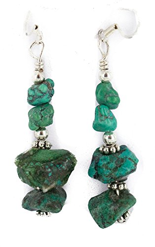 $80Tag Silver Hooks Certified Navajo Natural Turquoise Native Dangle Earrings 18294-6 Made By Loma Siiva